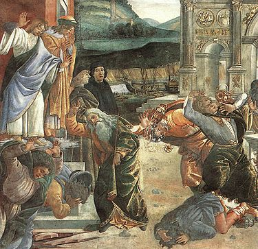 The Punishment of Korah- by Sandro Botticelli (1480–1482) in the Sistine Chapel.